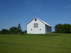 Barn quilt (yooperann) Tags: blue sky green grass barn quilt painting mural upper peninsula michigan delta county rural