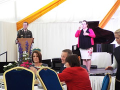 Aras an Uachtarain - Inside the Marquee at the Garden Party June 2018 (sean and nina) Tags: aras an uachtarain irish ireland eire eireann garden party marquee indoors inside tent formal gathering dinner meal entertainment people persons performers performances candid public male female summer june 2018 dublin phoenix park state residence home michael d higgins president tables seated sitting food drink happy colour color colourful colorful white unposed posed posing singing music musicians adc aide de camp military army soldier uniform uniformed
