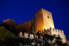 Alcazaba castle walls and hill at night in Almeria, Spain (mattk1979) Tags: almeria sun outdoors city spain europe old historic arab moorish fortress alcazaba walls castle cliff hill night illuminated