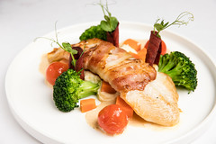 Bacon wrapped grouper (Pangasius)