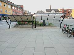 Bikeracks_4335Edit (mtbboy1993) Tags: askim sykkelstativ bikeracks roof city bicycle gågate flowers blomster bench bike chimney