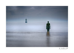 Into the Sea (Jo McD) Tags: coast seascape anotherplace statue sea clouds reflections liverpool crosbybeach crosby merseyside