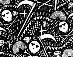 Hearts, Skulls n Sycthes (leannaperry) Tags: leannaperry skulls hearts sycthe emo goth drawing draw art artist brooklyn ny design illustration pattern surfacedesign rainbow graphic