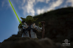 saunton beach (kapper22) Tags: yoda star wars beach sky outdoor sunrise sand grass blue toys fun photoshop figurine rock kit lens