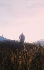 Gone. (Biskveet) Tags: gta grand theft auto 5 gta5 gtav nature gaming grass sky clouds people mountains screenshot reshade digital art