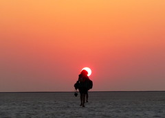 Walk to remember (Onlyshilpi) Tags: silhouette rannofkutch bhuj sunset lady dusk