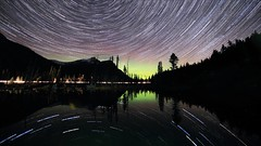 StarStaX Mount Lorette October 14 2017 (John Andersen (JPAndersen images)) Tags: kananaskis startrails nightsky aurora trees lake mountloretteponds