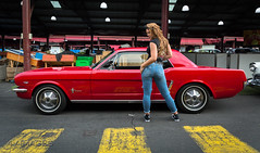Attitude (evvvvan) Tags: melbourne australia vicmarket carshow ratstattsnpinups kingpinkuztums model pinup girl rockabilly kulture beauty 4vimages promogirl cute strawberryblonde ford mustang red attitude jeans denim converse tamronsp2470mmf28divcusdg2 rippedjeans brookemorganmodelling