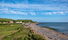 Fore (Peter Leigh50) Tags: train railway rural railroad rail house building golf beach sea seascape seaside sky skyscape clouds landscape people shore coast cliff