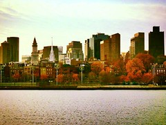 Boston in autumnal colors (corineouellet) Tags: view life travel ocean water cityscape city fall autumn automne autumnal usa boston