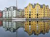 Like in a mirror (Ulrich Neitzel) Tags: ålesund boat boot building gebäude gelb hafen harbour haus house mzuiko1240mm norge norway olympusem1 reflection spiegelung wasser water yellow