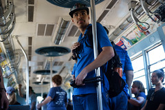 Rail Fan (dtanist) Tags: brooklyn nyc newyork newyorkcity new york city sony a7 contax zeiss carlzeiss carl planar brighton beach bmt parade trains mta subway station rail fan railfan pole vintage