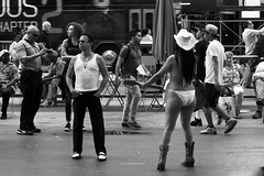 Times Sq 2013 (Urban Footfall - Street Photography) Tags: streetphotography newyork timessq timessquare manhattan bigapple touristtrap nakedcowgirl peoplephotography man woman bw streetscene
