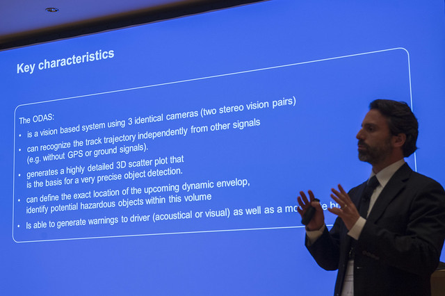 Andrea Mazzone presenting Bombardier's Obstacle Detection Assistance System