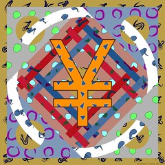 Fruit Machine 10 (Julian F Jones) Tags: modernart contemporaryart abstract geometric patterns colourful circles rectangles money symbol yuan yen society6 redbubble