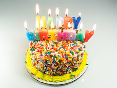 Cake (si_glogiewicz) Tags: cake candles happy birthday celebration celebrate flames fire cakes sprinkles sprinkle decoration