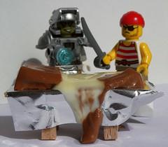 Told ya to take a knife! (captain_joe) Tags: toy spielzeug 365toyproject lego minifigure minifig pirat pirate cutlass spaceminer gonzo macromondays candy schokolade chocolate