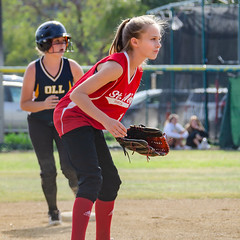 Ready for Play (Kevin MG) Tags: kids child childhood red softball blonde girl young youth cute pretty little athlete athletic sport team school schoolgirl field outdoor adolescent adorable