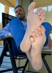 Evening feets 1. (silvpix) Tags: shiny flash beard man guy feets soles barefoot feet barefeets