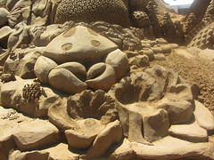 A crab and other marine creatures. Under the Sea, Frankston Sand Sculptures, 2012 (d.kevan) Tags:
