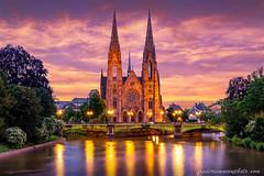 Saint-Paul Church in Strasbourg (fmonin) Tags: monuments lieuxdeculte canal bluehour culteprotestant pontroyal strasbourg egliseréforméesaintpaul rues canaldesfauxremparts lill coursdeau rivière themes pontdauvergne pont