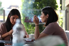 Smokin (if you insist) Tags: addict smoking smoker exhale eurosmoke candid cigarette breath female happy nicotine mouth pleasure