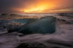 Sunrise in Jokulsarlon (Iván F.) Tags: explorers inexplore jokulsarlon sunrise iceland travel sonya7r zeiss1635 longexposure sea seascape colourful europe ice water wave glacier
