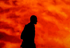 Heat (CoolMcFlash) Tags: silhouette person man red background micromacro wiener festwochen screen fujifilm xt2 vienna kontur mann rot hintergrund wien fotografie photography xf18135mmf3556r lm ois wr