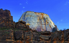 The Great White Throne : Zion National Park (Clement Tang **busy**) Tags: travel westernutah autumnafternoon usa thegreatwhitethrone zionnationalpark hdr cplfilter bluesky wispywhiteclouds scenicsnotjustlandscapes landscape geologicalfeature sandstonemonolith concordians closetonature nature nationalgeographic mountain sidelit america navajo sandstone