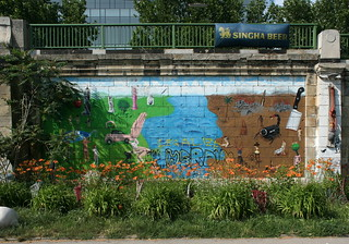 Daylilies and Street Art at the Donaukanal in Vienna