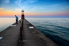 Thursday Sunset (Andy Marfia) Tags: chicago edgewater kathyostermanbeach hollywoodbeach pier hollywoodpier man dog walking sunset d7100 1685mm 1125sec f35 iso100