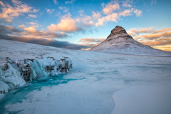 Winter Magic at Kirkjufell (B.E.K. Photography) Tags: kirkjufell kirkjufellfoss iceland snow ice waterfall glacier glacial water church mountain game thrones arrowhead winter river turquoise clouds sky blue yellow orange snaefellsness peninsula north atlantic ocean longexposure outdoor landscape nikond850