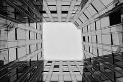 Synthetic Rebith (Robin Shepperson) Tags: city architecture outside offices technical design monochrome d3400 nikon berlin germany white blackandwhite bw up skyward