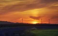 Wild West sunset (PeterThoeny) Tags: helm california rocket rocketlaunch dusk sunset sky grass mountain field railroadtrack track outdoor sony a6000 sel55210 1xp raw photomatix hdr qualityhdr qualityhdrphotography fav100