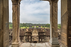From the Top of Angkor Wat Temple (Jill Clardy) Tags: angorwat asia cambodia location siemreap temple buddhist vista columns carved jungle 201410174b4a8473 religion religious monument vishnu khmer templemountain mount meru architecture