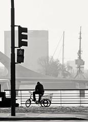 La pausa (carlos_ar2000) Tags: puerto port niebla fog calle street hombre man silueta silhouette ciclista cyclist puertomadero buenosaires argentina haze