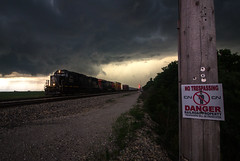 Severe Death Star Warning (Jackson Vandeventer) Tags: ic illinoiscentral tuscola illinois il champaignsubdivision cn canadiannational champaign railroad railfanning railfan railroads rail rails railway rural rare l532 local l531 train track tracks trains southbound p3 horn outdoor photography power locomotive freight storm thunderstorm manifest mixedfreight