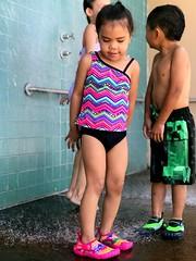 Wash off that chlorine! (iphonephotonells) Tags: hawaii keiki kids children girl water rinseoff boy shower girlswimmingpool toddler