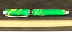 Green & Yellow Stripe Fountain Pen - Bock Stainless Nib (BenjaminCookDesigns) Tags: fountainpen custom bespoke engraved personalised classic vintage artdeco style gift birthday christmas fpgeeks fpn giftforhim giftforher füllfederhalter green yellow bay packers
