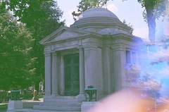 Collins Mausoleum at Mount Mora Cemetery in Saint Joseph, Missouri (plasticpeaches) Tags: filmisnotdead photography film expired scary creepy mountmora saintjoseph missouri graveyard cemetery grave mausoleum pink light experiment canonare1program 35mm
