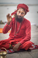 Saraswati Maruti Baba (andy_8357) Tags: street varanasi baba man hindu hinduism sadhu ghat sony a6000 6000 ilce6000 ilcenex serious intense portraiture river ganges canon fd 50mm f14 shallow dof india indian turban beard moustache photography piercing eyes clear mudra red robes ganga mother e mount emount