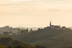 Slowenien - Weinberge (cmfritz) Tags: ausflug bauwerke dunst europa gegenlicht herbst hügellandschaft jahreszeit jeruzalem kirche landschaft licht natur slowenien stajerska weingarten church hills wineyards evening