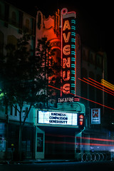kindness compassion generosity (pbo31) Tags: bayarea california nikon d810 color june 2018 boury pbo31 evening sanfrancisco city urban night dark black lightstream motion roadway bus muni sign sanbrunoavenue portoladistrict neon avenue theater historic restored cinema red green 7up