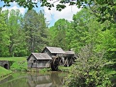 Mabry Mill, May 2018 (1) (David Hoffman '41) Tags: mill architecture building structure wooden sluice water power wheel pond stone foundation shingles fence splitrail path flowers spillway cogs turning trees picturesque scenery scenic famous wellknown wellphotographed blacksmith wheelwright gristmill sawmill crafts demonstrations mabrymill blueridgeparkway government nps nationalparkservice floydcounty virginia