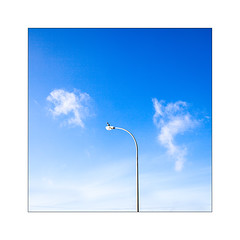 Je guette l'allumeur de réverbère. (Scubaba) Tags: france europe pasdecalais oiseau cormoran couleurs réverbère nuages bleu ciel minimalisme minimal bird cormorant colors streetlamp clouds blue sky minimalism