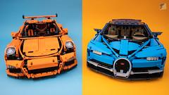 Orange vs Blue (RacingBrick) Tags: lego legotechnic supercar bugatti chiron porsche 911 technic review video comparison