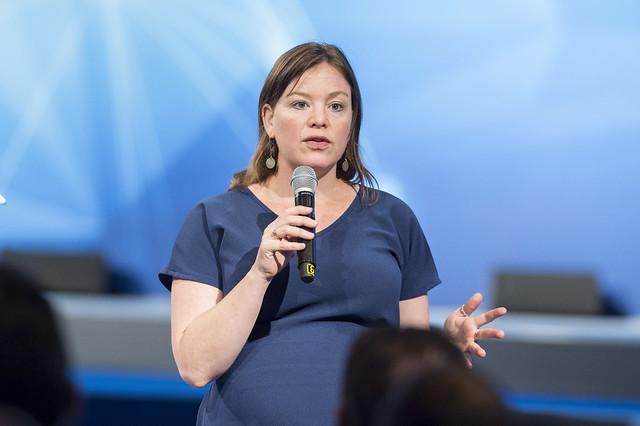 Julie Anne Genter delivers a speech