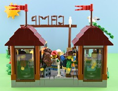 LEGO Summer camp part 1 : Arrival🚕 5/6 (Alex THELEGOFAN) Tags: lego legography minifigure minifigures minifig minifigurine minifigs minifigurines camp camping summer car people holiday holidays entrance tree vegetation brown green tan bush flowers kids wood vacation