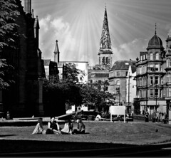 At ease, Dundee city centre BW (ronramstew) Tags: dundee bw blackandwhite nethergate group people women grass spire church city leisure relaxation