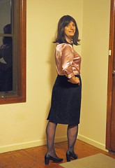 Home At Last (justplainrachel) Tags: justplainrachel rachel cd tv crossdresser trans transvestite office work skirt black tights heels lilac purple pink blouse satin selfie selfportrait